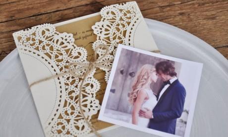 Dankeskarten Hochzeit Vintage Spitze