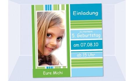 """Einladung Kindergeburtstag """"Michi"""", Fotokarte 10x10 cm"""