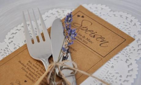 Menükarte Hochzeit Kraftpapier