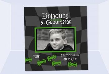 """Einladung Kindergeburtstag """"Autorennen"""", Fotokarte 10x10 cm"""