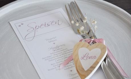 """Menükarte Hochzeit """"Rosa Traum"""" auf edlem Leinenpapier"""