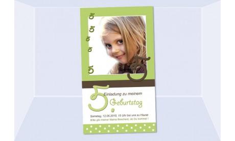 """Einladung Kindergeburtstag """"Mädchen"""", Fotokarte 10x15 cm, grün"""