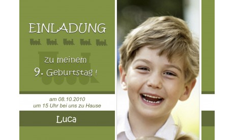 "Einladung Kindergeburtstag ""Eisenbahn"", Fotokarte 10x15 cm, grün"