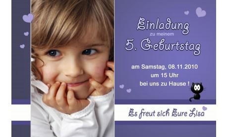 """Einladung Kindergeburtstag """"Mädchen"""", Fotokarte 10x15 cm, lila"""