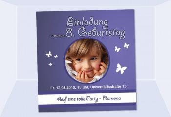 """Einladung Kindergeburtstag """"Schmetterling"""", Fotokarte 10x10 cm, lila"""