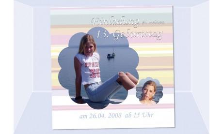 Einladung Kindergeburtstag, Mädchen, Fotokarte 12,5x12,5 cm