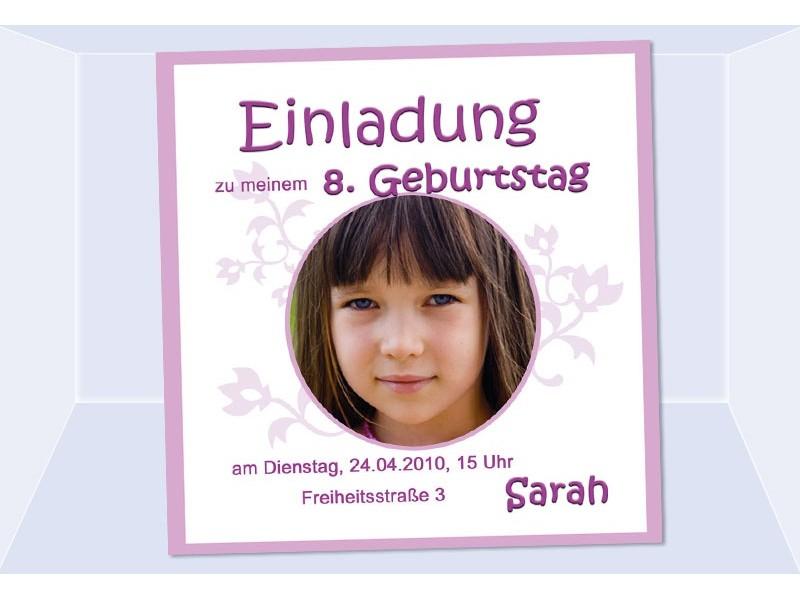 Einladung Kindergeburtstag, Mädchen, Fotokarte 12,5x12,5 cm, rosa