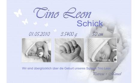 """Geburtsanzeige """"Babyfüsschen"""", Karte Geburt, 10x15 cm, hellblau"""