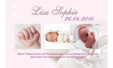 """Geburtsanzeige """"Babyschühchen"""", Karte Geburt, 10x15 cm, rosa"""