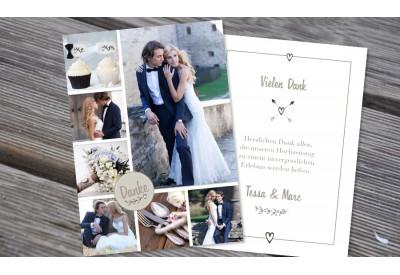 "Danksagungskarten Hochzeit ""Dankesbutton"""