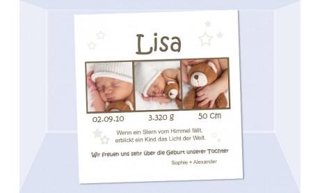 """Geburtsanzeige """"Sternchen"""", Karte Geburt, 10x10 cm, creme"""