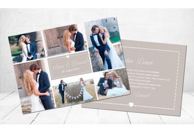 """Danksagungskarte Hochzeit, """"Herz"""" taupe"""