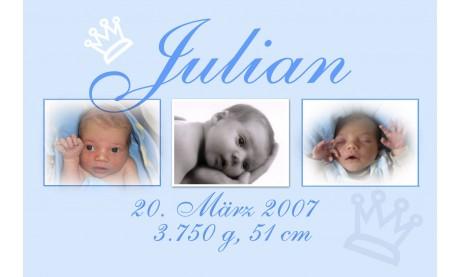 """Geburtsanzeige """"Kleiner Prinz"""", Karte Geburt, 10x15 cm, hellblau"""