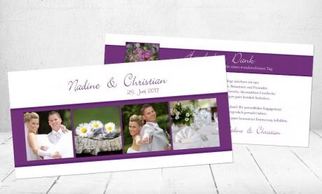 Danksagungskarte Hochzeit, lila