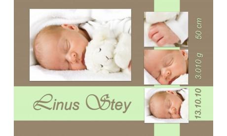 "Geburtsanzeige ""Linus"", Karte Geburt, 10x15 cm, braun grün"