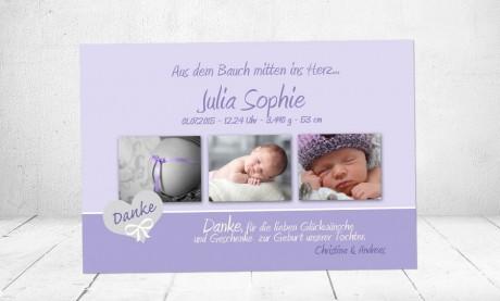 Danksagung Geburt Baby flieder lila