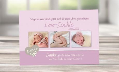 "Danksagung Geburt ""Lena"", Geburtskarte, 10x15 cm, rosa"