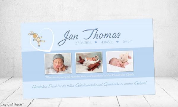 Dankeskarte Geburt Baby hellblau
