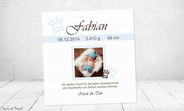 Dankeskarte Geburt Baby weiß blau