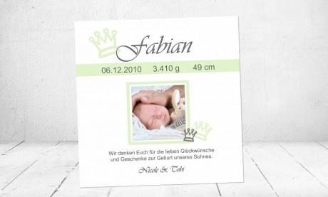 Dankeskarte Geburt Baby weiß grün