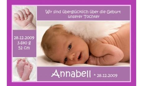 """Geburtsanzeige """"Annabell"""", Karte Geburt, 10x15 cm, beere"""
