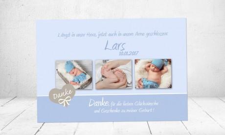 Danksagung Geburt Baby hellblau Junge