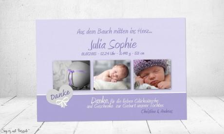 Danksagung Geburt Baby flieder