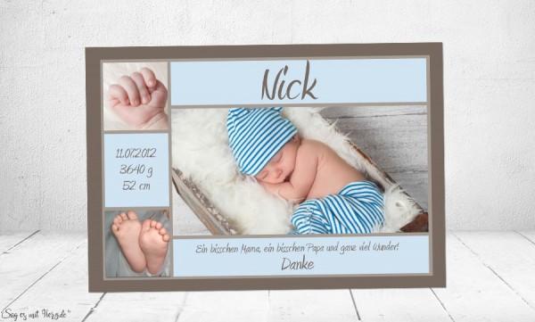 Danksagung Geburt Baby Vintage braun-blau