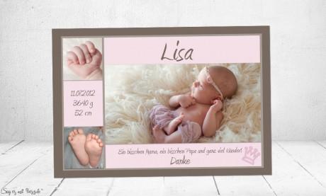 Danksagung Geburt Baby braun-rosa Vintage Mädchen