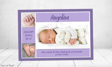Danksagung Geburt Baby lila