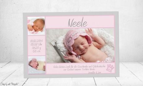 Danksagung Geburt Baby rosa Mädchen