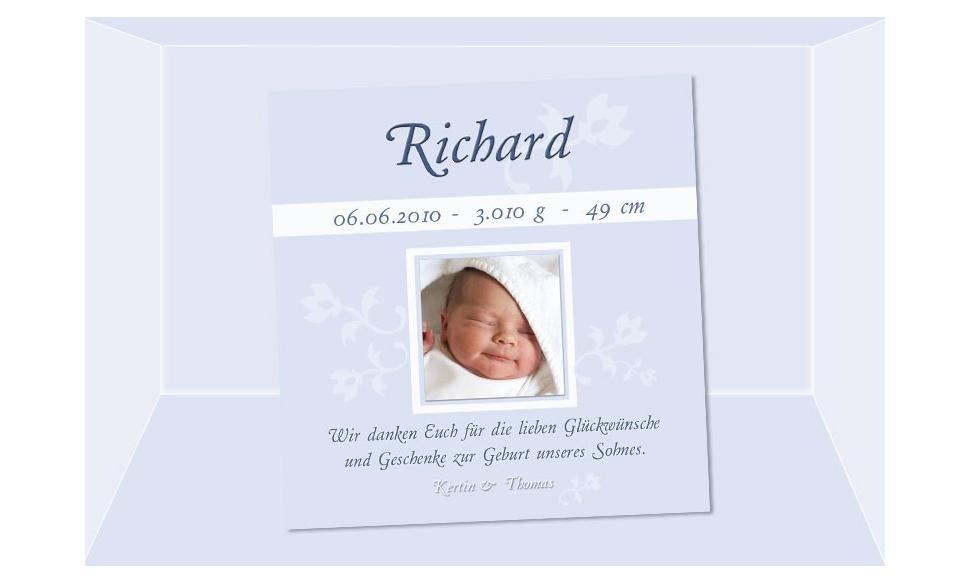 "Danksagung Geburt ""Richhard"", Geburtskarte, 10x10 cm, hellblau"