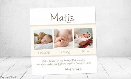 Dankeskarte Geburt Baby weiß creme Junge Mädchen