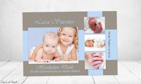 "Danksagung Geburt ""Lara"", Geburtskarte, braun blau, Junge"