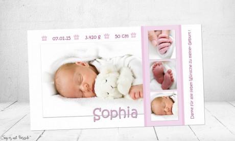 Dankeskarte Geburt Baby weiß-rosa, Mädchen, Danksagung