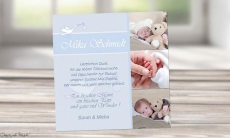 Dankeskarte Geburt Baby hellblau, Junge