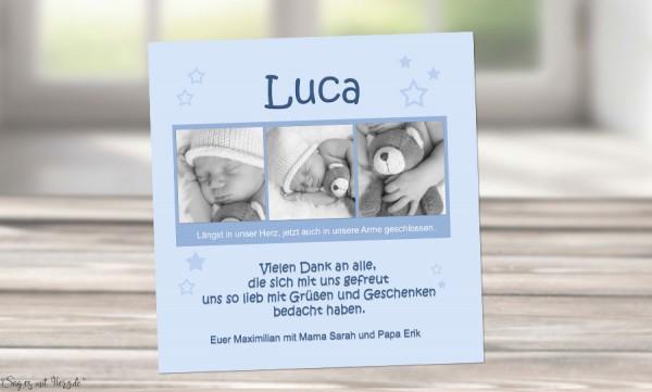 "Danksagung Geburt ""Maximilian"", Geburtskarte, 10x10 cm, hellblau"