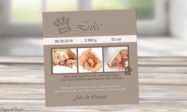"Danksagung Geburt ""Krone"", Geburtskarte, 10x10 cm, braun"
