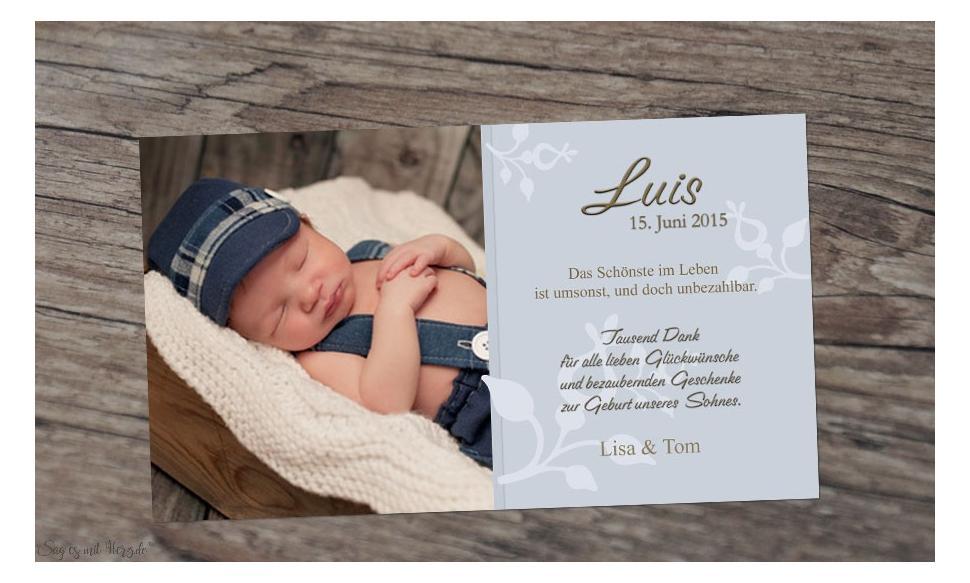 Danksagung Geburt Baby grau, Dankeskarte