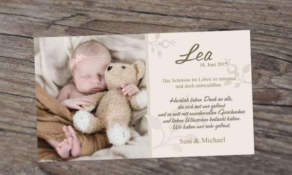 Danksagung Geburt Baby Creme, Dankeskarte