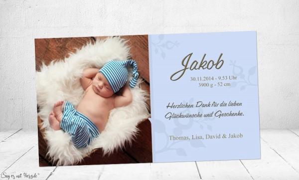 Danksagung Geburt Baby hellblau, Dankeskarte
