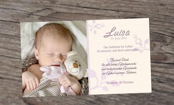 Danksagung Geburt Baby gelb-rosa, Dankeskarte