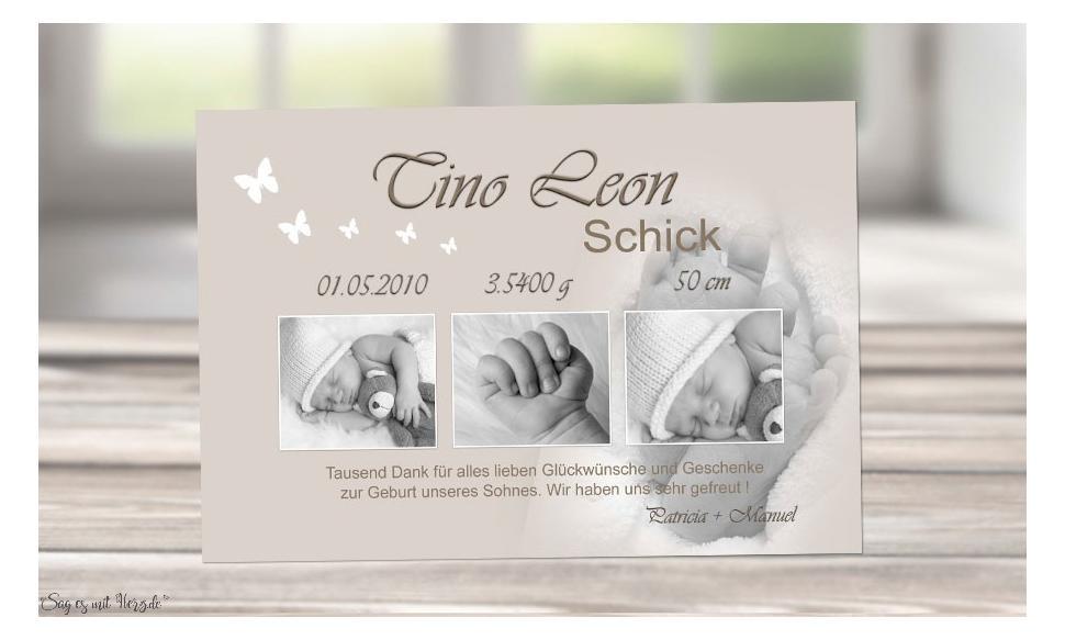 """Danksagung Geburt """"Babyfüße"""", Geburtskarte, 10x15 cm, hellbraun"""