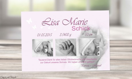"Danksagung Geburt ""Babyfüße"", Geburtskarte, 10x15 cm, rosa"
