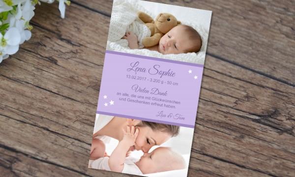 "Danksagung Geburt ""Lena"", Geburtskarte, 10x18 cm, lila"