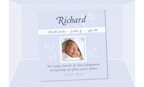 "Danksagung Geburt ""Eliza"", Geburtskarte, 10x10 cm, rosa"