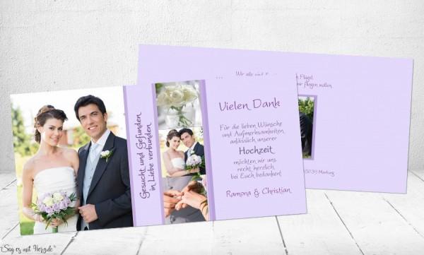 Danksagungskarten Hochzeit flieder