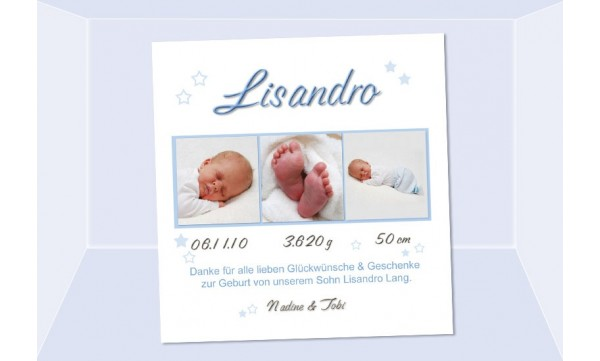 "Danksagung Geburt ""Lisandro"", Geburtskarte, 10x10 cm, hellblau"