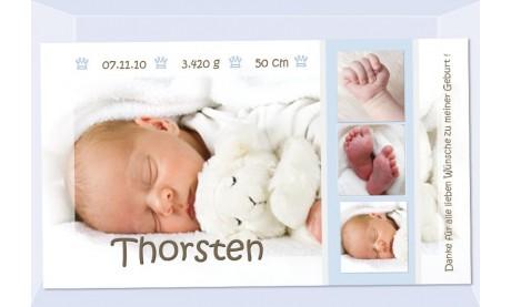 "Danksagung Geburt ""Kleiner Prinz"", Geburtskarte, 10x18 cm, hellblau"