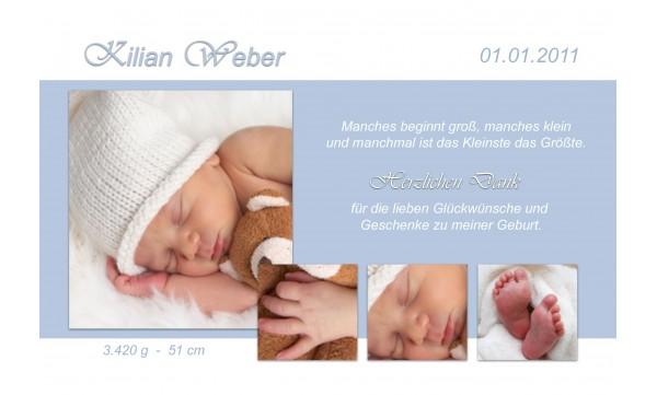"Danksagung Geburt ""Kilian"", Geburtskarte, 10x15 cm, hellblau"